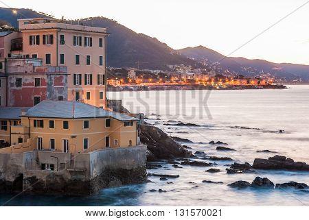 Boccadasse a sea district of Genoa during the dawn