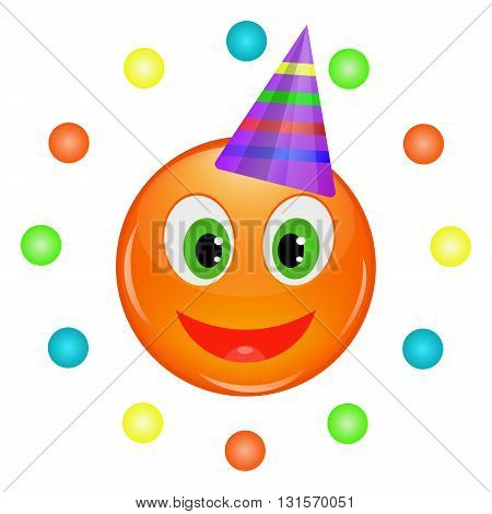 Cheerful orange smiley happy birthday. Vector illustration