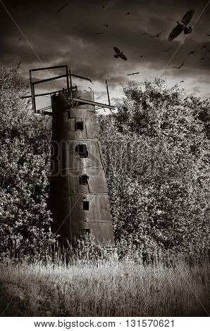 black white old mysticism rusty water tower