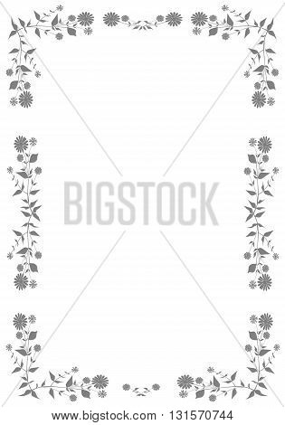Grey frame with plant - vector illustration.