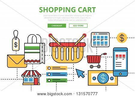 Shopping Cart vector flat line art infographics banner