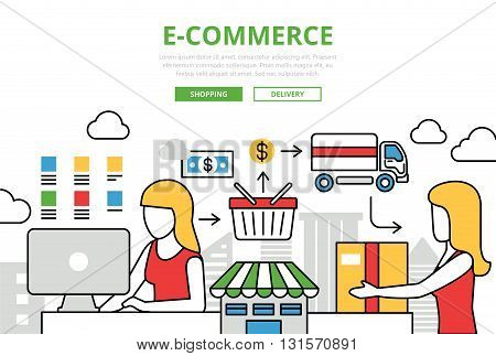 E-commerce online shopping sale delivery vector flat line art