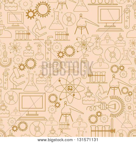 Vector seamless pattern. Scientific background for packaging paper. Gear, Microscope, bulb, computer and other scientific symbols