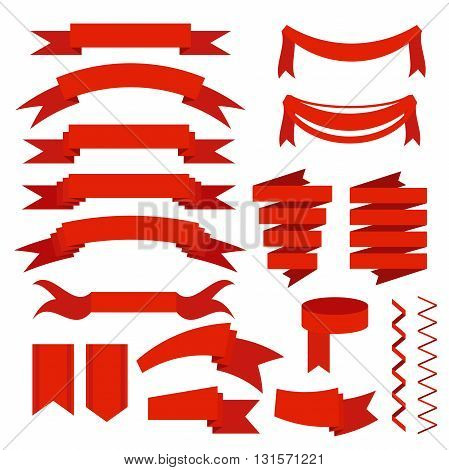 Red ribbons set, flat icons for mobile or web. Isolated on white background. Vector Illustration