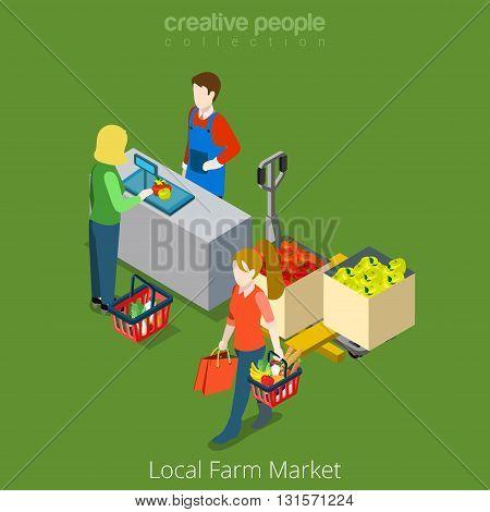 Local Farm Market food shop sale shopping flat isometric vector