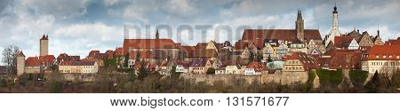ROTHENBURG OB DER TAUBER, GERMANY - JANUARY 04, 2012: Panoramic view of an old town of Rothenburg ob der Tauber in winter