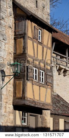 ROTHENBURG OB DER TAUBER, GERMANY - JANUARY 04, 2012: Residential tower of fortress of the Rothenburg ob der Tauber