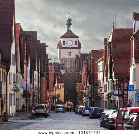ROTHENBURG OB DER TAUBER, GERMANY - JANUARY 04, 2012: View of the Galgengasse street