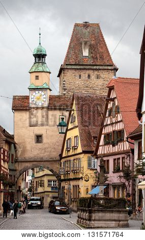 ROTHENBURG OB DER TAUBER, GERMANY - JANUARY 04, 2012: View of the Rodergasse street