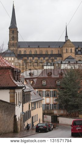 BAMBERG, GERMANY - JANUARY 05, 2012: Street view in Bamberg
