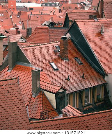 Wet tile roofs in ancient German town