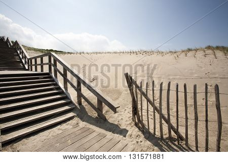 Staircase in the dunes of The Hague in the Netherlands