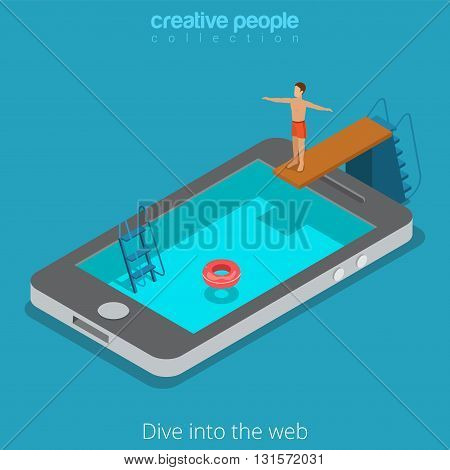 Mobile internet surfing www web phone flat isometric vector 3d