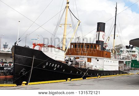 BERGEN, NORWAY - MAY 15, 2012: Stord I retro ship at pier in port of Bergen