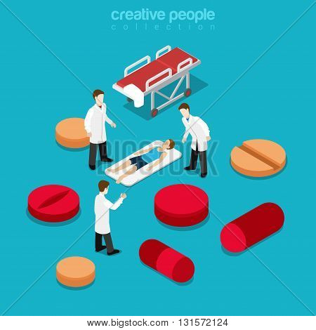 Healthcare hospitalization patient pill flat isometric vector 3d