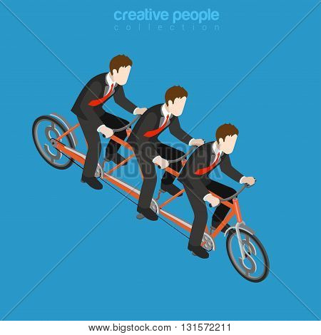Business corporate company team work flat isometric vector 3d