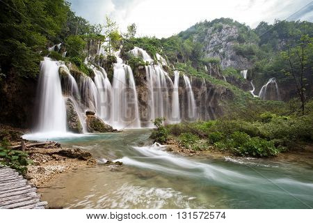 One of the most beautiful waterfall of Plitvice lakes national park in Croatia