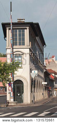 LJUBLJANA, SLOVENIA - JUNE 19, 2013: Narrow house in Ljubljana