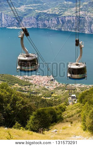 MALCESINE, ITALY - JUNE 26, 2013: The funicular brings tourists to Monte Baldo from Malcesine