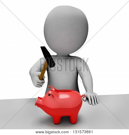 Save Piggybank Shows Spending Word And Banking 3D Rendering