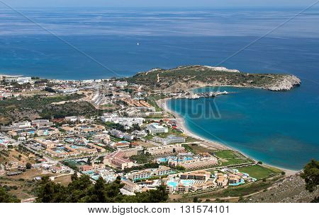 Aerial view of Kolymbia coastal settlement in Rhodes island