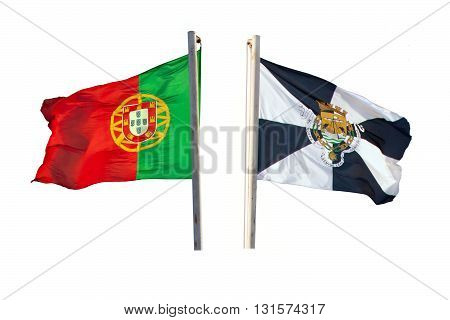 The flags of Portugal and Lisbon waving in the wind on the flagpoles isolated on white