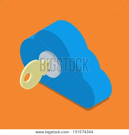 Cloud password lock security authentication isometric vector 3d