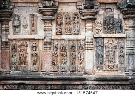 Detail of the stone carvings in Belur temples Karnataka India