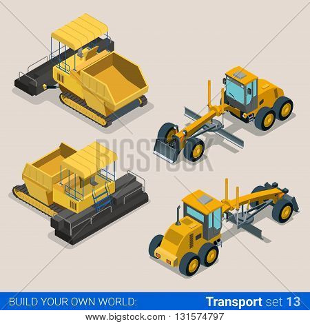Construction wheeled tracked: vector flat isometric vehicles