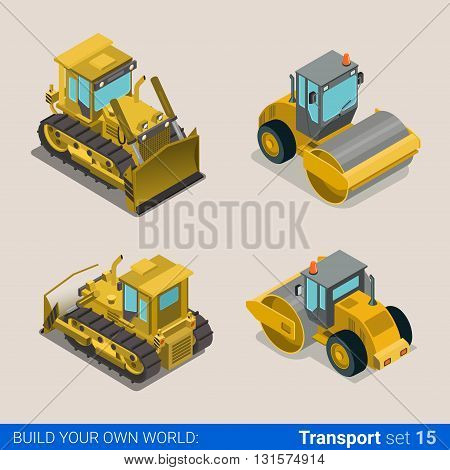 Construction wheeled combine vector flat isometric vehicles
