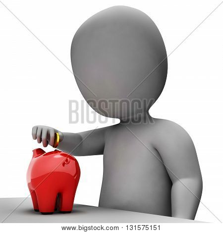 Piggybank Money Shows Currency Savings And Banking 3D Rendering