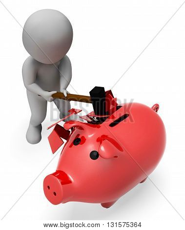 Savings Piggybank Indicates Spending Word And Banking 3D Rendering
