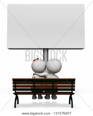 Love Couple Shows Text Space And Blank 3D Rendering