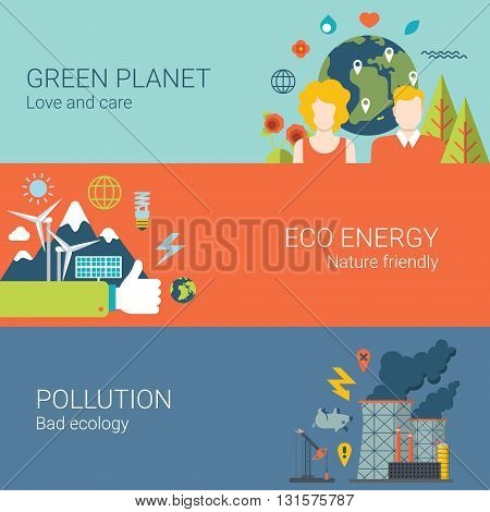 Green planet eco energy nature friendly pollution bad ecology web site banner hero image set. Flat style modern vector illustration.