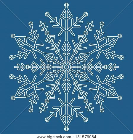 Round vector white snowflake with blue background. Abstract winter ornament