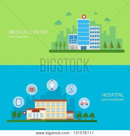 Medical center full treatment hospital local healthcare web site banner hero image set. Building exterior and health care service icons. Flat style modern vector illustration.