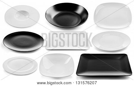 Collage of different plates isolated on white