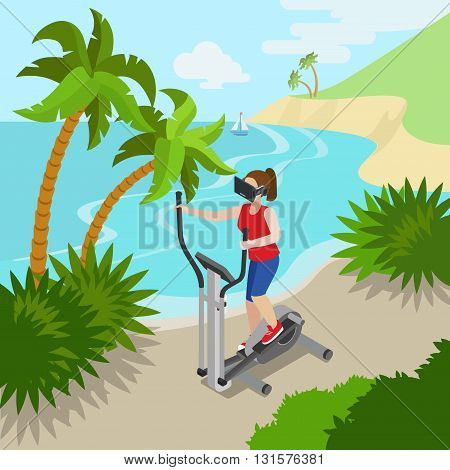 Virtual Reality VR Glass Sports Exercise on sea ocean shore concept web vector flat isometric style illustration. New technology collection. Male wearing glasses sitting chair watching 3d cinema.