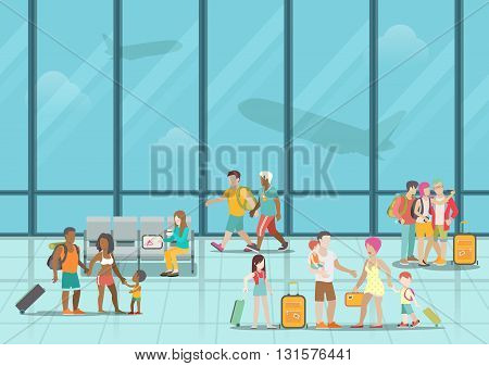 Airport waiting boarding zone interior and passengers. Flat style website vector illustration. Creative people collection.
