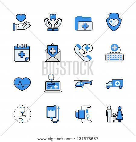 Health care medical help lineart flat vector icon set.