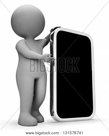 Character Smartphone Represents World Wide Web And Websites 3D Rendering