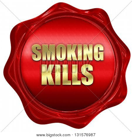 smoking kills, 3D rendering, a red wax seal