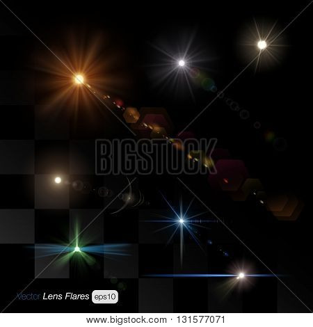Lens flare light ray glow glowing sparkle photography atmosphere effect on transparent background multicolor set. Creative design template stuff collection.