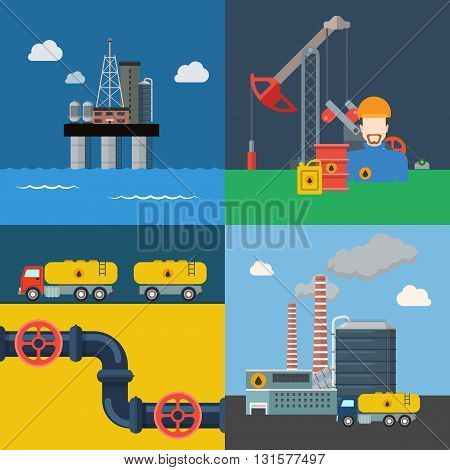 Oil extraction transport pipeline refinery power energy business cycle process concept vector illustration. Flat style web banner hero image set ocean sea production platform extract mining derrick