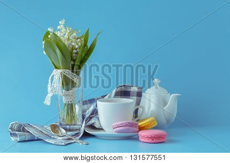 Morning Tea With Lily Of The Valley Flowers Bouquet