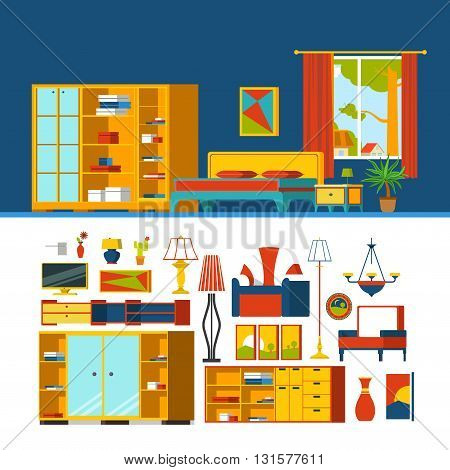 Bedroom constructor mockup template vector icon set