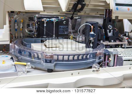 open medical centrifuge close up laboratory equipment