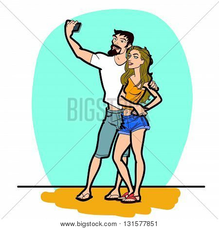 Couple man and woman selfie phone line art. The girl and her boyfriend are photographed on a smartphone.