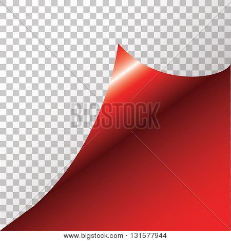 Red sticker with curled corner. Vector illustration