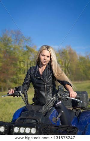 Elegant Woman Riding Atv